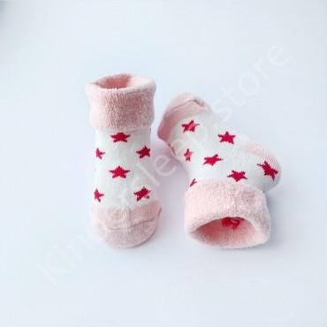 Махровые носки, 3-6 мес, 1 пара, бело-пудровые со звездами
