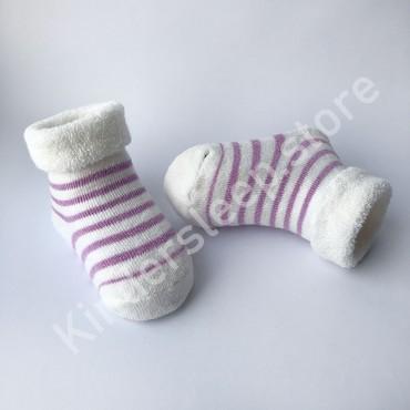 Махровые носки, 0-3 мес, 1 пара, белые в фиолетовую полоску