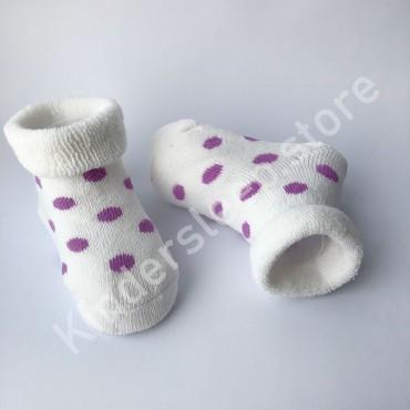 Махровые носки, 0-3 мес, 1 пара, белые в фиолетовый горошек
