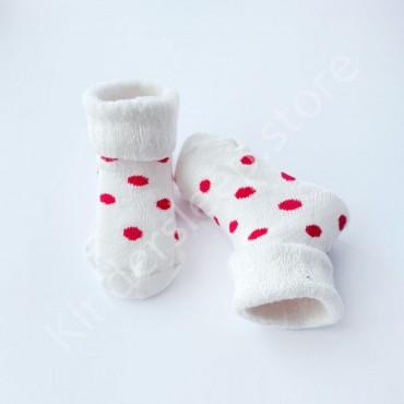 Махровые носки, 3-6 мес, 1 пара, белые в малиновый горошек