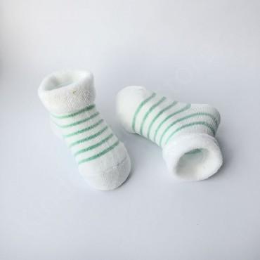 Махровые носки, 0-3 мес, 1 пара, белые в оливковую полоску