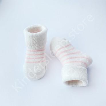 Махровые носки, 3-6 мес, 1 пара, белые в пудровую полоску