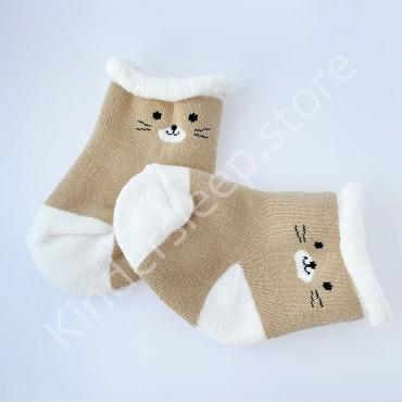 Махровые носки, 0-3 мес, 1 пара, Бежево-белые, Котик
