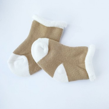 Махровые носки, 0-3 мес, 1 пара, Бежево-белые