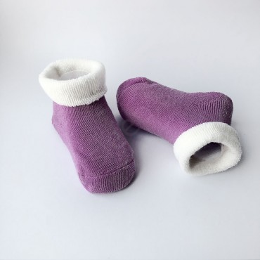 Махровые носки, 0-3 мес, 1 пара, фиолетовые