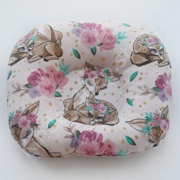 Подушка  (позиционер) Бязь «Косули и розовые цветы» Розовая