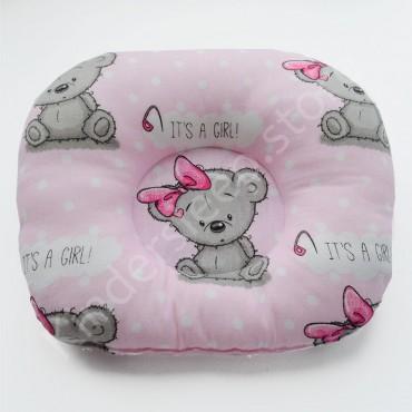 Подушка  (позиционер) Бязь «Мишка Тедди girl» Розовая