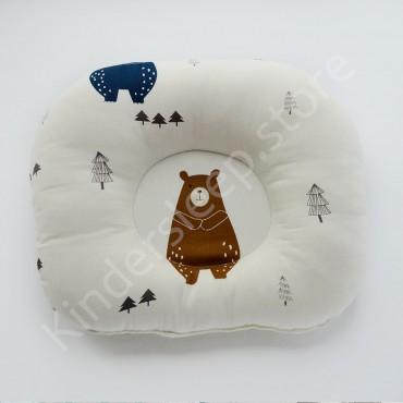 Подушка  (позиционер) Сатин «Скандинавский мишка» Белая