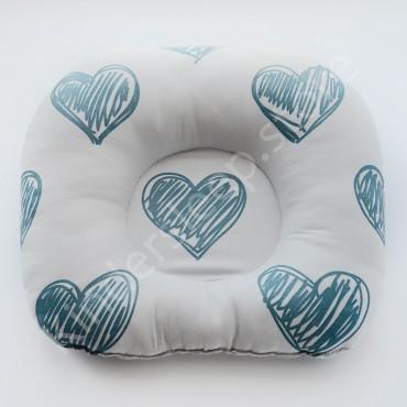 Подушка  (позиционер) Сатин «Сердца голубые» Белая