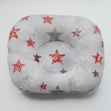Подушка  (позиционер) Бязь «Звезды красные» Белая