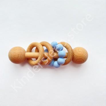 Деревянная погремушка Эко грызунок, цвет Голубой