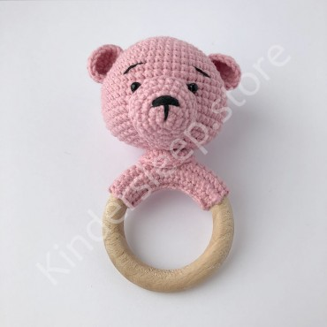 Погремушка грызунок Мишка, цвет розовый