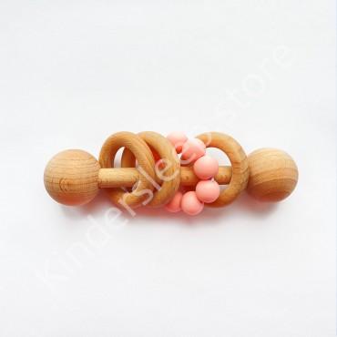 Деревянная погремушка Эко грызунок, цвет Пудра