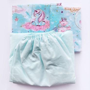Детское постельное белье в кроватку, Бязь, «Единорог» цвет Бирюзовый