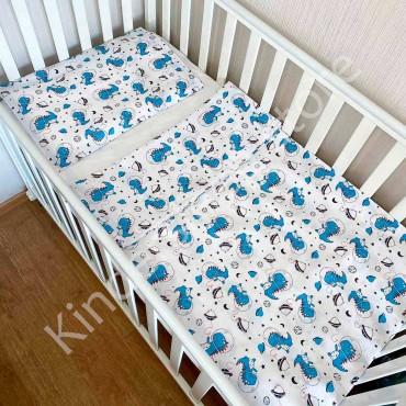 Детское постельное белье в кроватку, Бязь, «Динозавр в космосе» цвет Белый