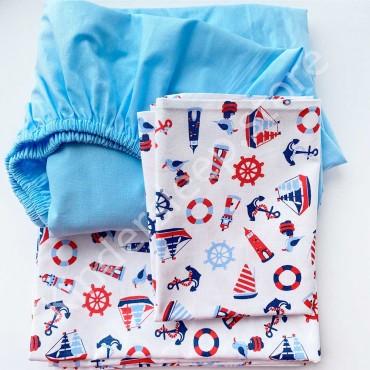 Детское постельное белье в кроватку, Бязь, «Кораблики» цвет Белый