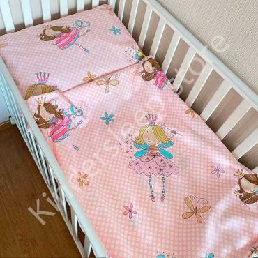 Детское постельное белье в кроватку, Сатин, «Маленькая фея» цвет Пудра