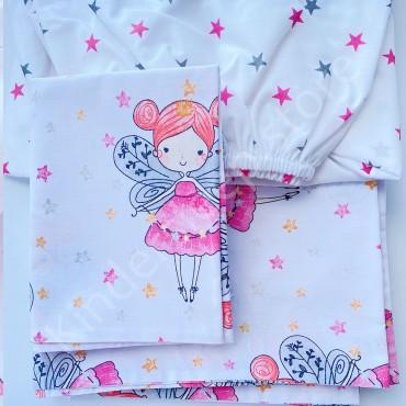 Детское постельное белье в кроватку, Бязь, «Малинькая фея» цвет Белый