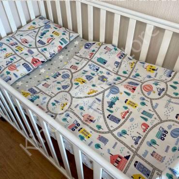 Детское постельное белье в кроватку, Бязь, «Машинки и дорога» цвет Белый