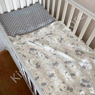 Детское постельное белье в кроватку, Сатин, «Мишка в сером свитере» цвет Белый