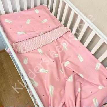 Детское постельное белье в кроватку, Сатин, «Перья» цвет Пудра