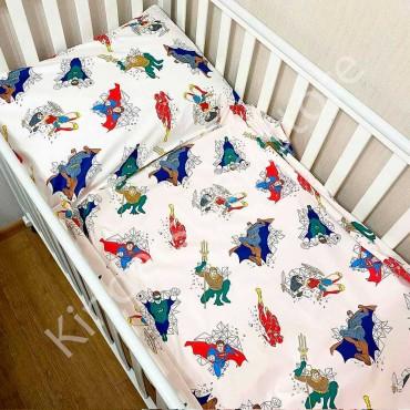 Детское постельное белье в кроватку, Сатин, «Супергерои», цвет Белый