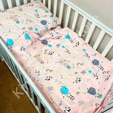 Детское постельное белье в кроватку, Сатин, «Веселые Панды» цвет Пудра