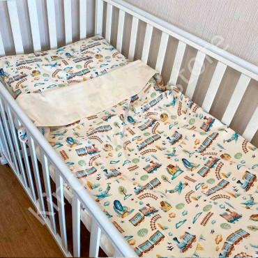 Детское постельное белье в кроватку, Бязь, «Железная дорога» цвет Шампань