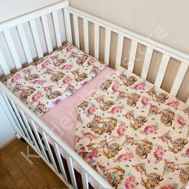Детское постельное белье в кроватку, Бязь, «Кослули с виночками» цвет Белый