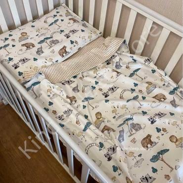 Детское постельное белье в кроватку, Сатин, «Зоопарк» цвет Шампань