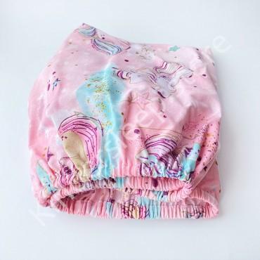Простынь на резинке в коляску 76x32 Бязь «Единорог» Розовый