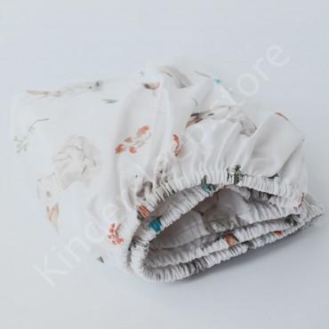 Простынь на резинке в коляску 76x32 Бязь «Лесной Зайчик» Белый