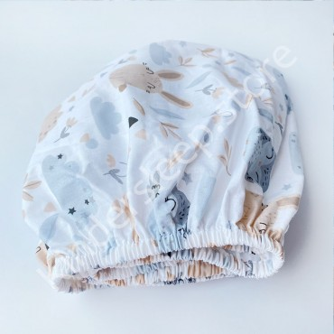 Простынь на резинке в коляску 76x32 Бязь «Лесные зверушки» Белый