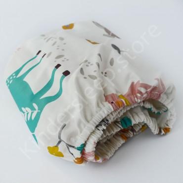 Простынь на резинке в коляску 76x32 Сатин «Лесные зверята мятные» Белый