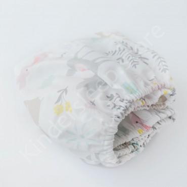Простынь на резинке в коляску 76x32 Сатин «Лесные зверята серые» Белый