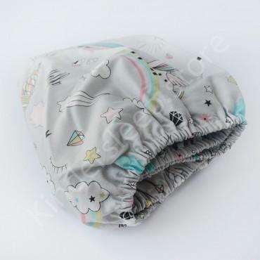 Простынь на резинке в коляску 76x32 Сатин «Радужные единороги» Серо-мятный