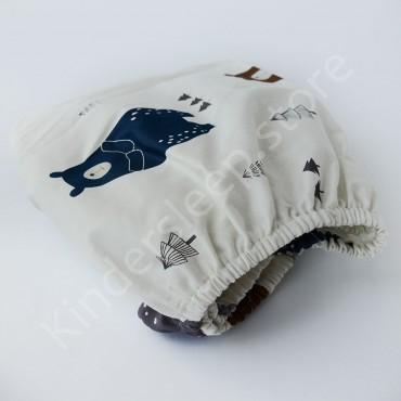 Простынь на резинке в коляску 76x32 Сатин «Скандинавский мишка» Белый