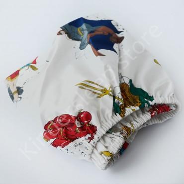 Простынь на резинке в коляску 76x32 Сатин «Супергерои» Белый