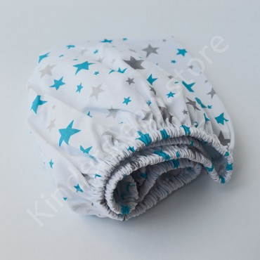 Простынь на резинке в коляску 76x32 Бязь «Звезды Голубо-серые» Белый