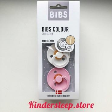 Пустышка (соска) Bibs Colour Baby Pink/White (0-6 мес) Розовый/Белый