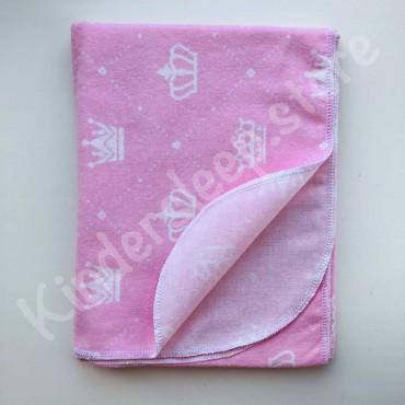 Фланелевая пеленка «Короны» розовая