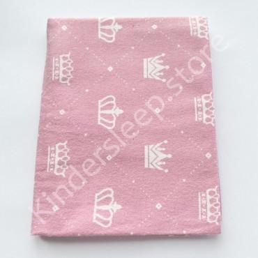 Фланелевая пеленка 100х80 см «Короны» розовая