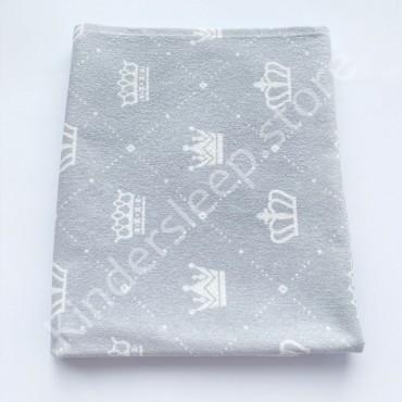 Фланелевая пеленка 100х80 см «Короны» серая