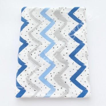 Фланелевая пеленка 100х80 см «Зигзаг» сине-серо-голубая