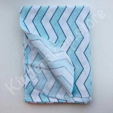 Фланелевая пеленка «Зигзаг» бело-голубой