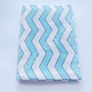 Фланелевая пеленка 100х80 см «Зигзаг» бело-голубая