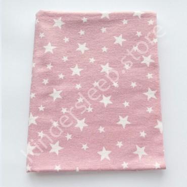 Фланелевая пеленка 100х80 см «Звезды» розовая
