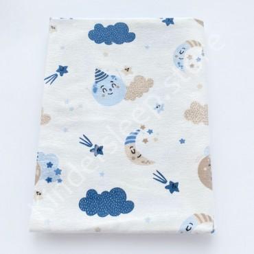 Фланелевая пеленка 100х80 см «Веселая луна» голубая