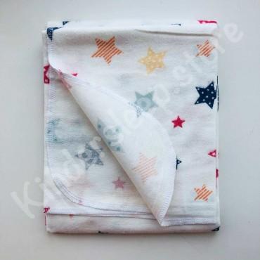 Фланелевая пеленка «Звезды» сине-красно-желтая