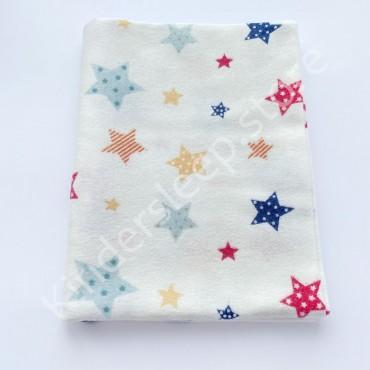 Фланелевая пеленка 100х80 см «Звезды» сине-красно-желтая